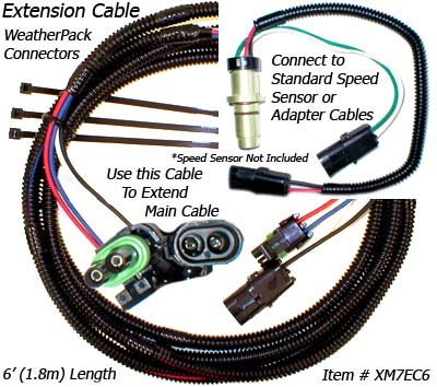 SafetyPass Pro XM7 Weatherpack 6 foot Extension Cables for permanent installations on Cab-over tractors