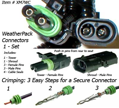 SafetyPass Pro XM7WC Weatherpack Connectors and Pins.
