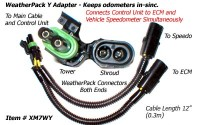 SafetyPass Pro XM7WY Weatherpack Y Adapter Cable For Trucks With 2 Speed Sensors. Mostly Found On 1992 - 2005 Trucks.