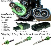 SafetyPass Pro XM7WC Weatherpack Connectors and Pins. Crimping Tool Required.