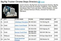 Big Rig Trucker Chrome Shops Directory Listings Advertising
