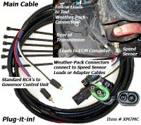 Use this cable to connect control unit to vehicle connectors or adapter cables. Plugs into existing vehicle connectors using Weather-Pack connectors or use adapter cables for different connector types. Standard RCA jacks Connect to Control Unit located inside cab.