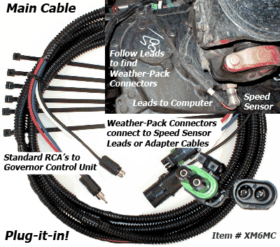 SafetyPass Pro Main Cable Interface to speed sensor connectors or adapter cables